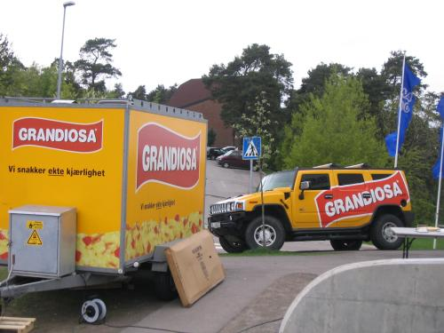 Grandiosa promotion truck outside Rema 1000